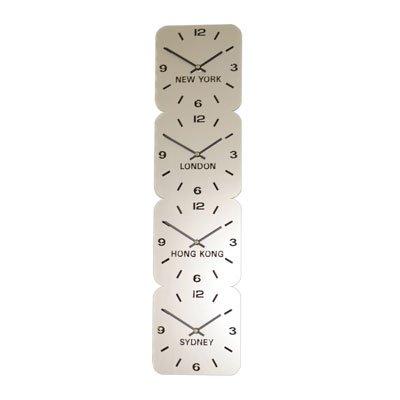 Large Horloge Acrylique Fuseaux Horaires Argent (24.5cm x 96cm Verticale 4 Cadrans)