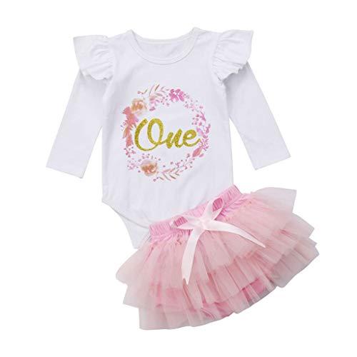 LABIUO Neugeborenes Mädchen Anzug,1 Jahr Geburtstag 2 Teiliges Set Tutu Tüllrock Langarm Overall Strumpfhose Kostüm Fotoshooting Kind Kostüm(Weiß,18-24 Monate/100)