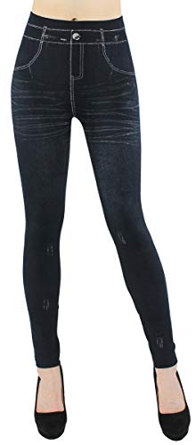dy_mode Thermo Leggings Damen Jeggings gefüttert Jeansoptik - WL046 (40/42 - L/XL, WL083-SimplyBlack)