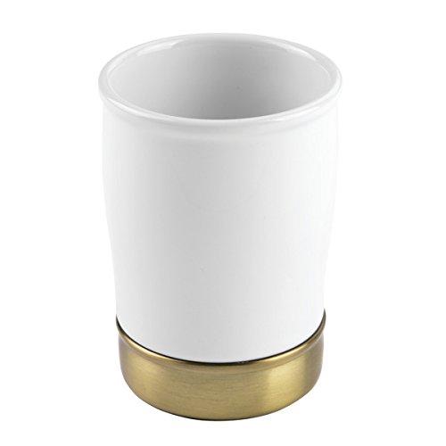mDesign Zahnputzbecher & Zahnbürstenhalter (weiß) - ideal zum Zahnbürste aufbewahren - Zahnbürsten-Becher aus Keramik - perfekt zum Zähneputzen, für Mundspülungen & Kosmetikpinsel