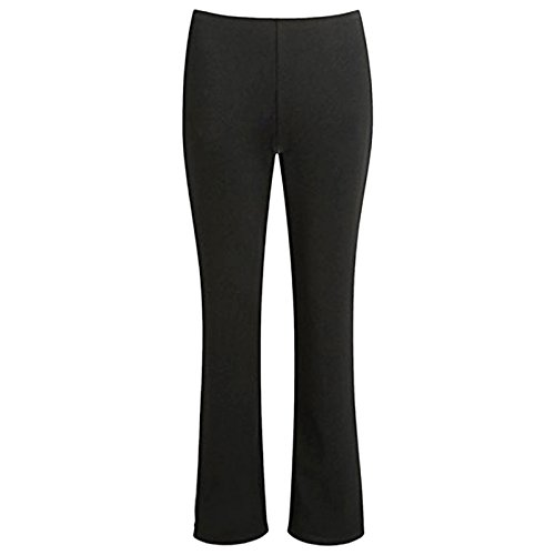 MyShoeStore® NEW LADIES PACK OF 2 BOOTLEG TROUSERS WOMEN BOOT CUT HIGH RISE STRETCH SOFT FINELY RIBBED PULL ON NURSE CARER WORK BOTTOMS ELASTICATED WAIST PANTS PLUS BIG SIZES 8-26
