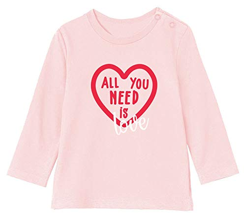 St Valentin All You Need is Love T-Shirt Bébé Unisex Manches Longues 12-18M 76/89cm Rose Pale