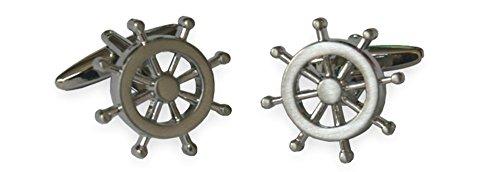 Unbekannt Manschettenknöpfe maritim Schiff Steuerrad silbern glänzend rund ca. 2 cm inkl. Geschenkbox