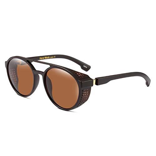 Sonnenbrillen Mode Uv-schutz for Männer Frauen Outdoor Fahren Urlaub Angeln Sommer Strand Retro Runden Rahmen Steampunk Kühle Persönlichkeit Bunte Linse Sonnenbrille ( Farbe : C5 tea/whole tea )