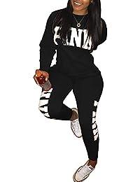 Mujeres 2 Piezas Chandal Ropa Deportiva Suave y cómodo Pantalones Manga  Larga Juego Sudadera Pantalones Deportiva Trajes… 832d33dceaa