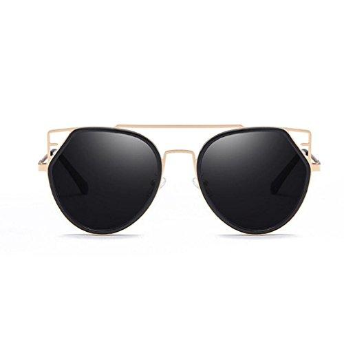 RLJJSH Sonnenbrillen Damenmode Sonnenbrillen, Katze Brillen Flache Linse Metallrahmen Sonnenbrille UV400 Sonnenbrille Sonnenbrille (Farbe : Schwarz, größe : One Size)