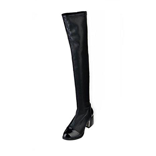 Bhydry moda pelle sopra stivali ginocchio stivali donna toe elastico tacco di spessore stivali(37 eu,nero)