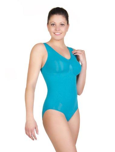belly cloud Damen Body figurformender seamless Body mit V-Ausschnitt Türkis (smaragd)