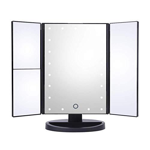 hurrise Make-up Spiegel Kosmetik 22Lichter LED Vergrößerung 1x/2x/3x, 180° drehbar dreifache faltbar für Büro Tisch Zimmer-mit Knopf Touchscreen Kabel USB (schwarz