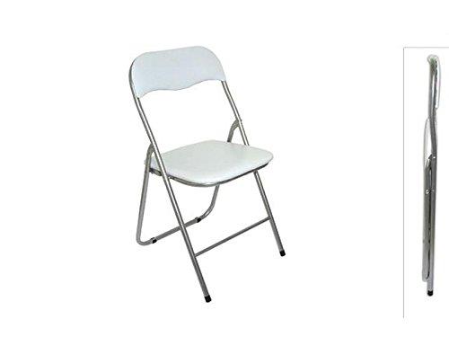 Sedia pieghevole imbottita struttura in metallo per casa e campeggio sedie bianco