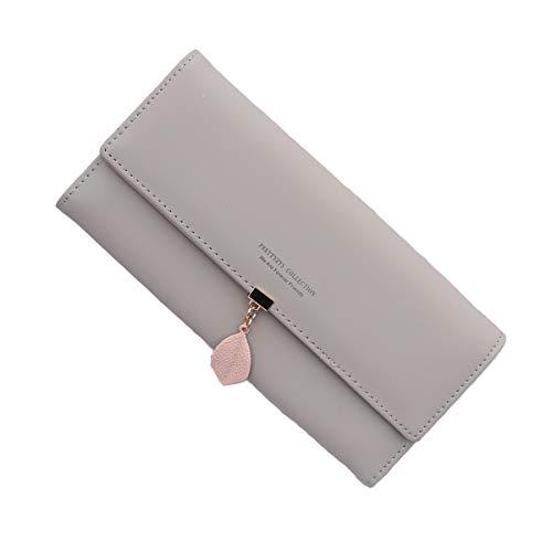 Neusky Damen Leder große Geldbörse, Frauen Leder Geldbeutel Lang Portemonnaie Geldtasche mit 9 Kartenfächer (Sommer Grau) - Schicke Geldbörse