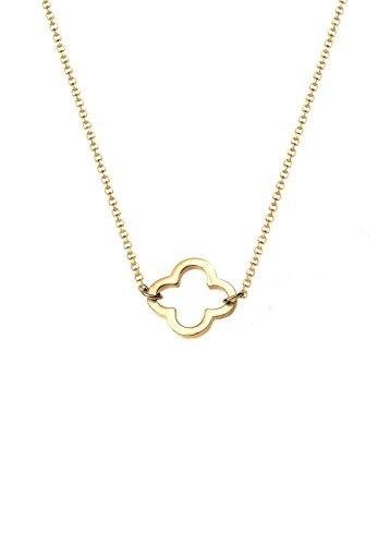 Elli Damen Schmuck Halskette Kette mit Anhänger Kleeblatt Glücksbringer Filigran Trend Symbol Silber 925 Vergoldet Länge 40 cm