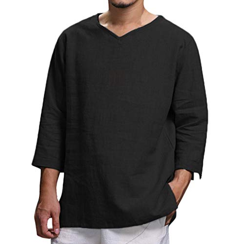 Frashing Herren Elegantes Hemd Rundhals Langarm Shirt Sommer Beiläufige Hemd Leinen Hemd | Herren Hemd Kurzarm Sommerhemd Freizeithemd Regular Fit | Langarm Poloshirt Herren M-XXXXL -