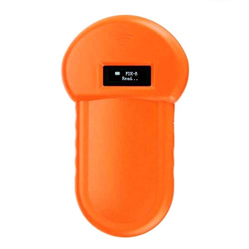 QYLJX Tierchip Lesegerät, 134.2Khz ISO FDX-B Tierchip Hundeleser Mikrochip Handtier Scanner, Tier ID Leser Eingebauter Summer und LCD, USB-Ladevorgang, für Haustier Identifikations Management