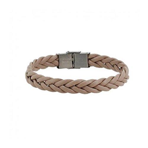 Bracelet Homme Cordon Tresse 10mm Fermoir Acier - Couleur au Choix Beige
