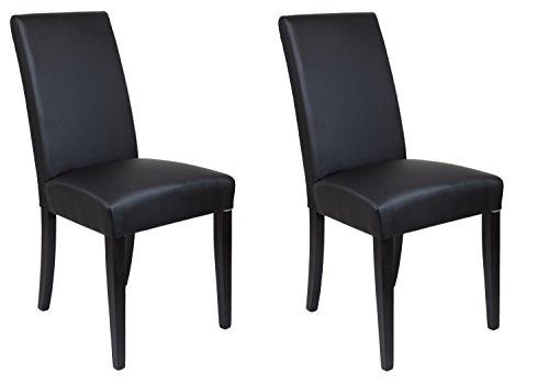 Set 2 chaises salle à manger simili cuir NOIR haute qualité - pieds en bois de hêtre wengé - design chic et sobre- FLORENA