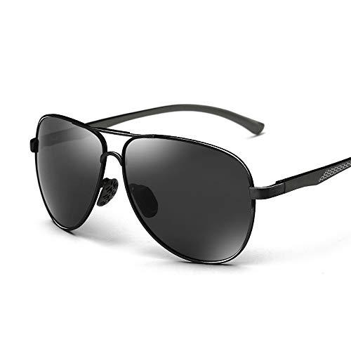 Gläser Polarisierte Sonnenbrille Teardrop Herrensonnenbrille Klassisches Design UV Cut Cross & Brillenetui (Color : Black+Black, Size : Kostenlos)