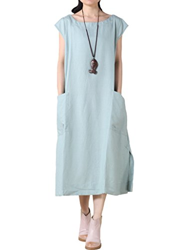 MatchLife Damen Rundhals Extrakurzer Arm Big Pocket Kleider Style1-Blau