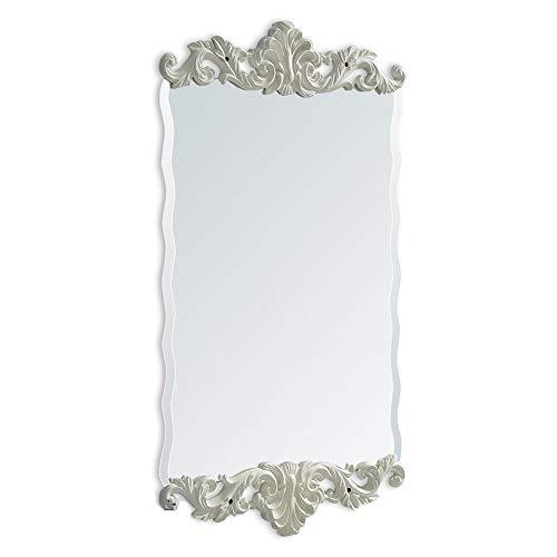 ZCM-MIRROR Vintage gravierten Rahmen Badezimmerspiegel, wellig, Schlafzimmer Wandspiegel, Kosmetikspiegel, 3D-Kunstspiegel, Bad wasserdicht Anti-Fog-Spiegel, Ganzkörperspiegel (50 x 140 cm),White