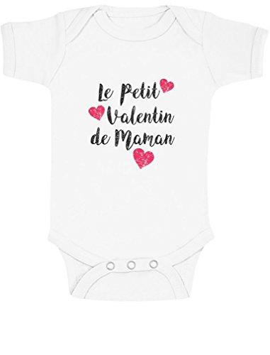 Le Petit Valentin de Maman t-Shirt trop Mignon Swagg Body Bébé Manche Courte 6-12 Mois Blanc