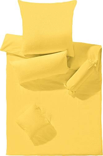 Erwin Müller Bettwäsche Seersucker gelb Größe 135x200 cm (80x80 cm)