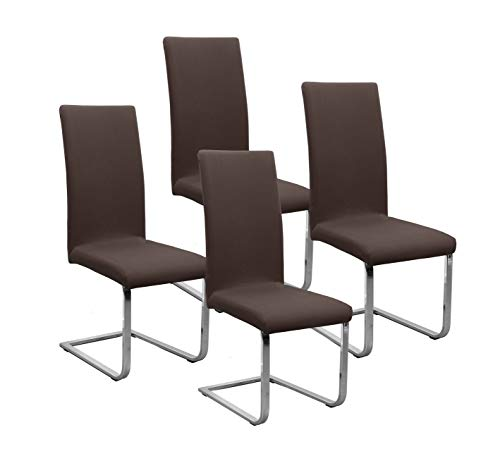 BEAUTEX Jersey Stuhlhussen Sets, elastische Stretch Husse Baumwolle Bi-Elastic, Farbe wählbar (Dunkelbraun 4er Set)