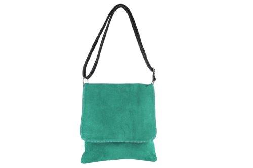 Versenkte Reißverschluss (scarlet bag | Clutch Tasche Unterarmtasche Abendtasche Umhängetasche aus echtem Wildleder | Damen Handtasche; 25 x 28 x 6 cm (Grün))