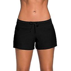 Yavero Pantaloncini da Bagno Donna Costume Pantaloncino da Nuoto Estate Pantaloni da Mare con Drawstring Regolabile Nero M