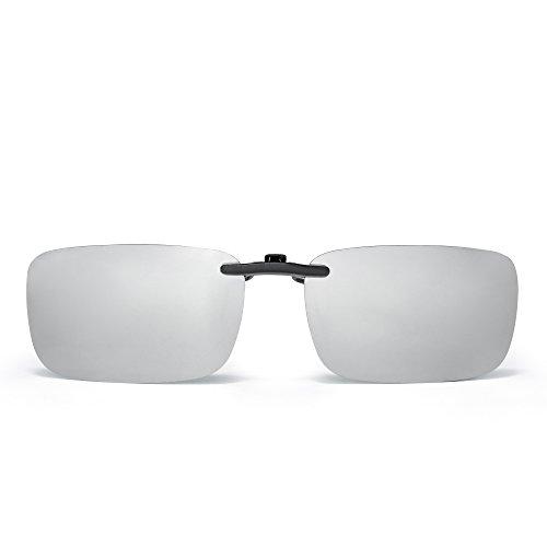 JM Randlos Rechteck Clip auf Sonnenbrille Leicht Gewichts Polarisiert Brillen Damen Herren(Polarisierter Spiegel Silber)