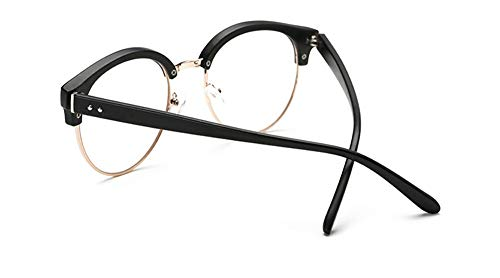 AdorabFrames Brille Metall halber Rahmen beliebt Retro Brillengestell Mode großes Gesicht Brillengestell männliche Dame flache Brille Sand schwarz
