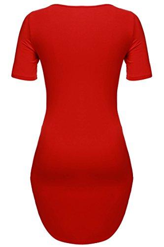 cooshional Damen Lang Tunika Kurzarm Kleid Longshirt Herbst Bluse Sexy Minikleid O-Ausschnitt Stretch T-Shirt 32-46 Rot