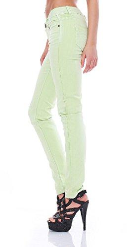 M.O.D - Damen Jeans Stretch Jeans Sommerjeans Nini Skinny neon-yellow-green