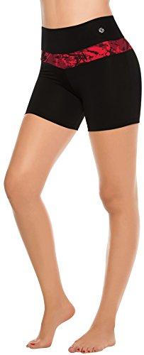 Shorts de Compression pour Femme Taille Haute et Coupe Basse aux jambes Course Gym Musculation Cardio Noir, fuchsia