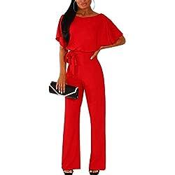 Walant Femmes Combinaison Manches Courtes Col Rond Couleur Unie Barboteuse Jumpsuit D'été Chic Élégant Slim Pantalon Loose Casual Combishort avec Ceinture, Rouge, L