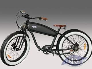 RKM Roller-King-Motors Retro Elektro EBike E Cruiser Fahrrad Pedelec Beachcruiser Fatbike Chopper Electro (Schwarz)