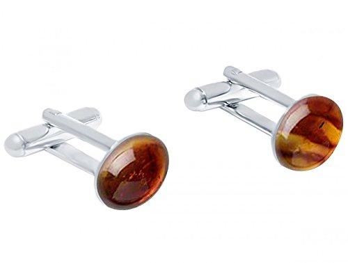 Gemshine - Manschettenknöpfe - 925 Silber - Bernstein - Gelb - Orange - 16 mm
