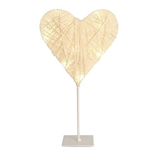 Modernes, batteriebetriebenes, weißes LED Licht aus Papier, Zwirn und Rattan – in Form eines (Herz Fuß)