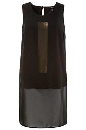 Ulla Popken Femme Grandes tailles Top long paillettes voile sans manches col rond 710491 Noir