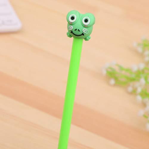 10 Studenten Schreiben Wasser Stift Cartoon Frosch Tier Modellierung Gel Stift Kreativbüro Schwarz Unterschrift Stift Grün 17.5Cm