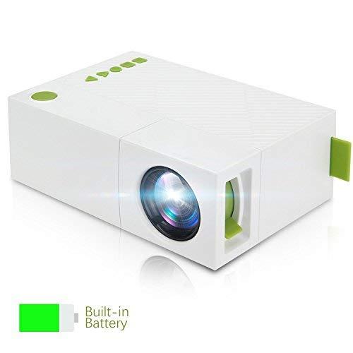 TKSTAR Mini Beamer, Mini Mobile Projektor, LED Taschen Projektor mit Akku USB / AV / HDMI Unterstützung TV Box Flash Drive Micro SD PC Laptop für Familie Bild Film Nacht Video JUYG310 Weiß