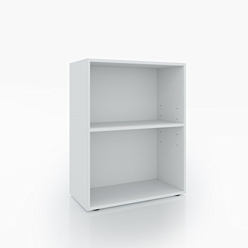 Bücherregal 2 Fächer Weiß - 78 x 60 cm - Holzregal Regal Standregal Aktenregal Aktenschrank Bücher (Regal 2 Bücherregal Schmal)