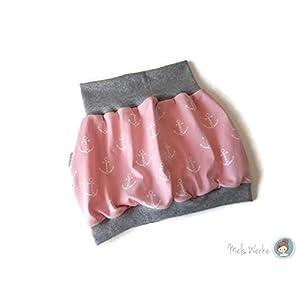 Ballonrock aus Jersey Gr. 98/104 rosa mit weißen Ankern, Bündchenabschlüsse grau meliert. 95% Baumwolle, 5% Elasthan