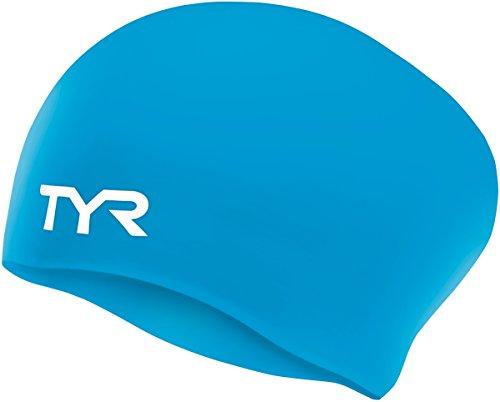 Schwimmkappe, Silikon, für langes Haar, Blau