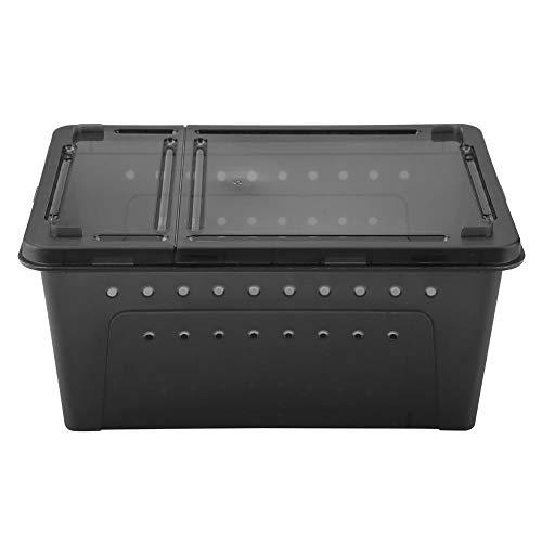 Mumusuki Reptilienbox Kunststoff Belüfteter Fütterungsbehälter Transparenter Käfig für Eidechsen-Spinnenfrosch-Skorpion-Schlangenpython(schwarz) -