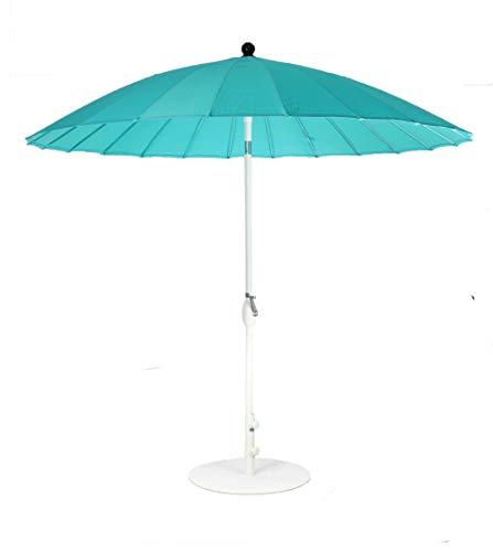 SORARA Parasol Jardin | Bleu | ø 260 cm | Rond Shanghai | Polyester 180 g/m² (UV 50+) | Mécanisme à manivelle, Fonction d?Inclinaison (Pied excl.)