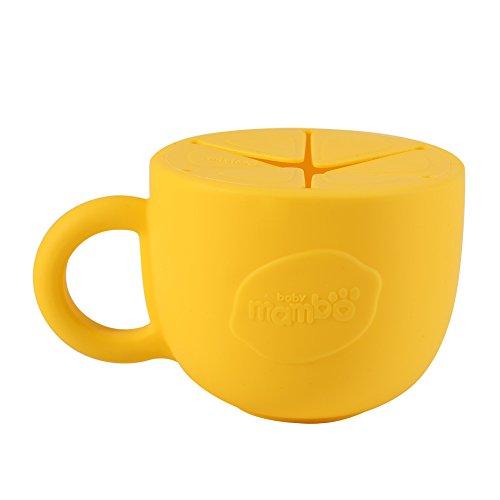 Fdit Copa de Snack de Silicona sin Derrame Tazón de Snack Dispensador de Cereal para Bebé Suave Copa de Snack Resistente a Pérdidas a Prueba de Derrames para Niños(Amarillo)