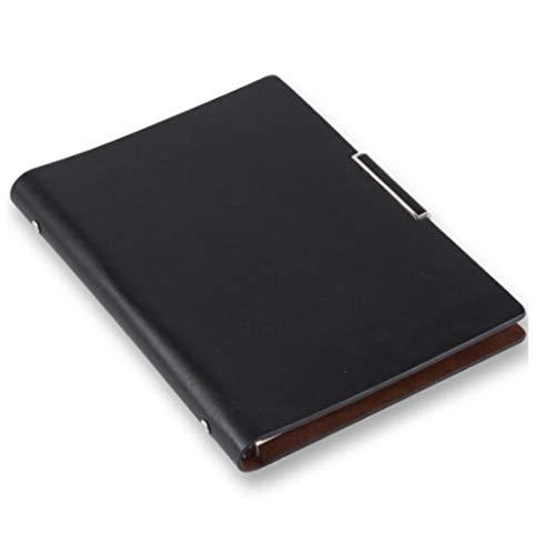 Klassisches Notizbuch Business High-End-Notizbuch Loseblatt-Notizbuch-Büromaterial, PU-Leder, kundenspezifisches LOGO Tagebücher (Color : Black, Größe : A4)