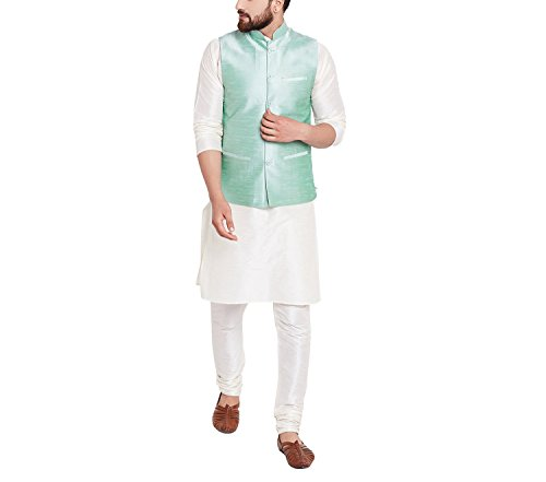 Royal Sojanya Men's Dupion Silk Nehru Jacket Medium Light Green (Green Royal Jackets)
