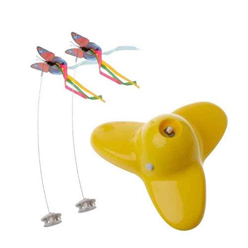 Marvvola Katze Toys Haustier-elektrischer Spielzeug Lustige Haustier Interaktive,Haustier-Katzen Spielzeug für Haustiere Kinder Geschenk,Elektrische Schmetterling Katze Spielzeug (Gelb)