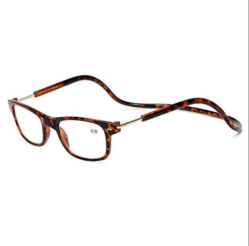 KOMNY Hängender Hals Lesebrille liefern starke magnetische Stein Presbyopie Brille HD tragbare komfortable alten Spiegel kann Schutzbrille Bohne Farbe Rahmen gedreht werden, 1,50